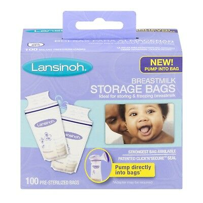 Lansinoh Breastmilk Storage Bags - 100 CT  PUMP INTO BAG  NEW
