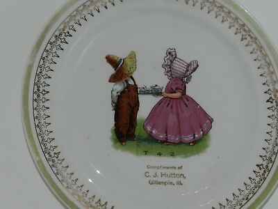 Vtg Antique Trenle China Co Plate Compliments Of C.j. Hutton Store Gillespie Ill