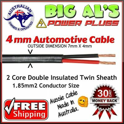 6 metre x 4mm Twin Core Sheath Auto Automotive Battery Cable Wire 4x4 12v 6m