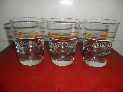 Vintage Baileys Low Ball Glasses W Bubble Bottom Orange Stripe - Set Of 3 - EUC