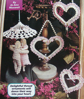 Crochet Pattern Only: 4 Different Valentines Day Tree Ornaments: Hearts & Couple