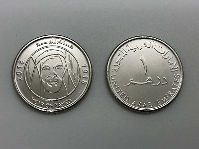 UAE United Arab Emirates 2018 Year Of Zayed Commemorative One Dirham UNC Coins