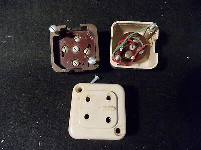 Three Vintage Western Electric 404B Four Socket Telephone Jacks 2 Beige 1 Brown