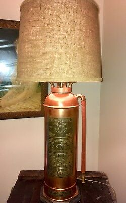 Vintage The Elkhart Brass Mfg Co Copper and Brass Fire Extinguisher Electrified