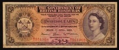 British Honduras (Belize) 1964   $2 note   SCARCE