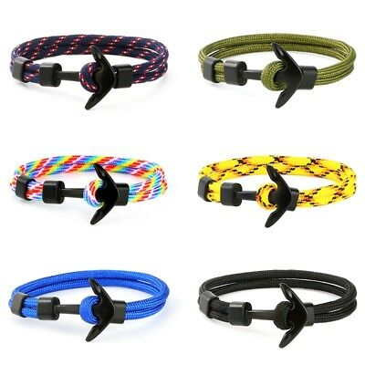 New Fashion Anchor Men Charm Survival Rope Chain Bracelet Male Wrap Sport Hooks