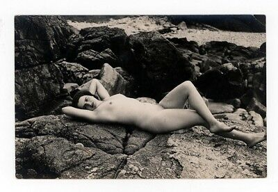 Vintage Nude French Real Photo POSTCARD~Women Laying on Rocks~Carte Postale