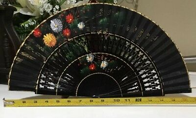 """Vintage Chinese Japanese Hand Painted Black Floral Hand Fan 16.5"""""""