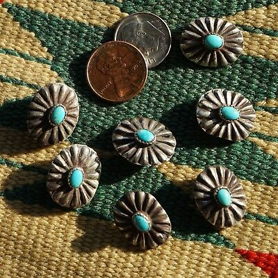 Set of Seven Vintage Native American Buttons Turquoise Sterling Silver