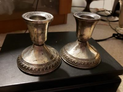 """Pair 2 Sterling Silver Candlesticks Candle Holders Duchin Creation Weighted 3"""""""