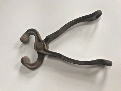 "Vintage Cow Bull Nose Lead Clamp Pliers Rustic Patina 8"" Cast Iron Barn Find!"