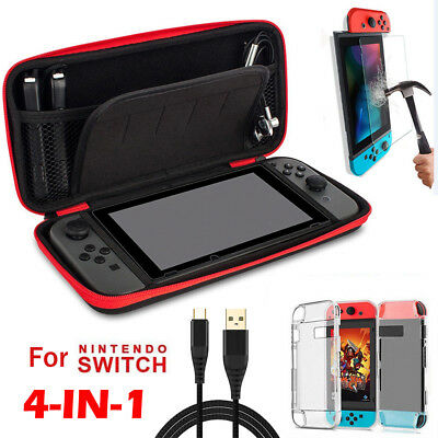 For Nintendo Switch Travel Carrying Bag Case+Charging Cable+Protector Film+Cover