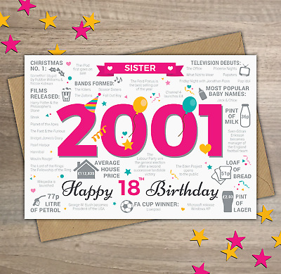 2001 SISTER Happy 18th Birthday Birth Year Facts / Memories Greetings Card Pink
