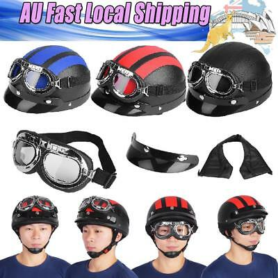 Motorbike Scooter Synthetic Leather Open Face Half Helmet&Visor Goggles Leather