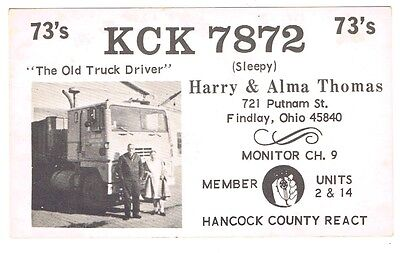 Vintage Cab Over Semi Truck Ad Postcard QSL Card Amateur CB Radio Findlay Ohio