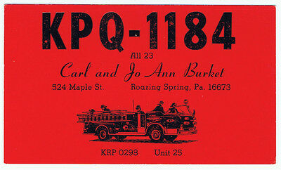 Fire Truck Engine Postcard QSL Card Amateur CB Radio Roaring Spring Pennsylvania
