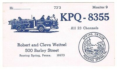 Fire Engine Truck Postcard QSL Card Amateur CB Radio Roaring Spring Pennsylvania