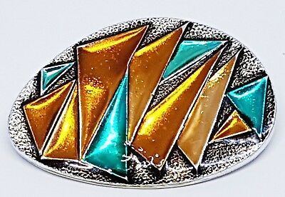 Vintage abstract geometric eloxal Brooch Brown blue copper color Art Deco Nordic