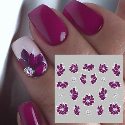 Nail Art Water Decals Stickers Transfers Water Effect Deep Purple Flowers (769)