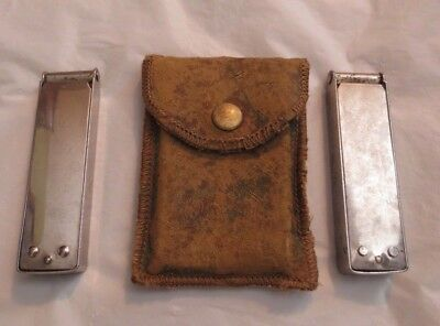 Antique Midge 1913 Collapsible Travel Telescoping Arms Hangers (2) Leather Case