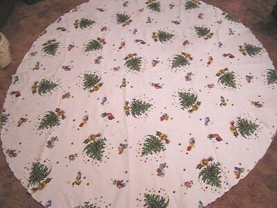 Vintage Tablecloth Round Christmas Holiday Decorated Trees Toys Circa 1990s