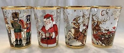 WILLIAMS SONOMA Twas The Night Before Christmas 4 GLASS TUMBLERS New In Box