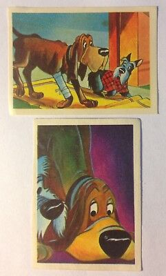 (2) 1955 De Beukelaer LADY and the TRAMP Trading Cards, with Trusty and Jock