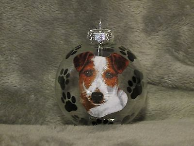 Hand Made Jack Russell Terrier Glass Christmas Ornament / Ball