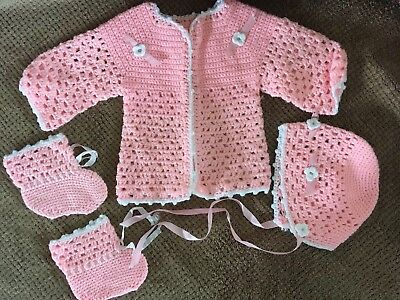 Vintage Infant Baby Hand Crocheted Set ~ Sweater, Bonnet, Booties