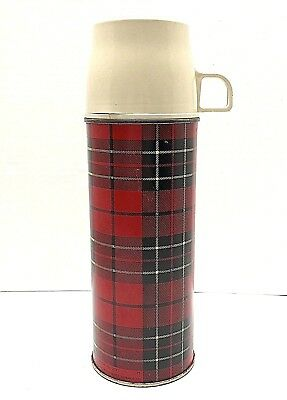 Vintage 1973 King Seely Metal Red Plaid Thermos Insulated Cup Stopper