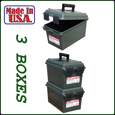 MTM Ammunition Case Can Plastic Storage Strong Handle padlock tabbed 3 boxes