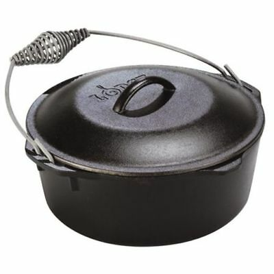 5QT Lodge Cast Iron Dutch Oven Easy use Oven Campfire Hearth Spiral Bail Handle