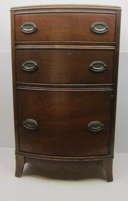 HTF Antique Bowfront Sewing Notions Stand Cabinet Hepplewhite Style Lazy Susan