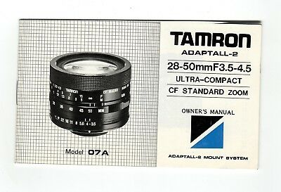 (R-0375A) Tamron Adaptall-2  28-50mmF3.5-4.5 Ultra-Compact CF Mod. 07A Zoom Eng.