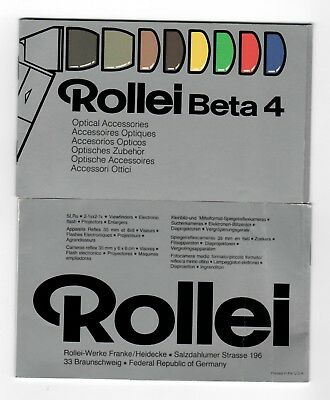 (R-0392) Rollei Beta 4 Optical Accessories Manual Printed USA