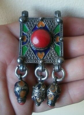 Antique Morocco - Hirz. Old Berber Sterling Silver + Enamel Pendant w Red Coral