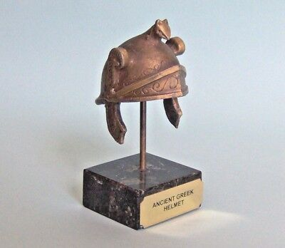 "Ancient Greek Helmet - Bronze Statue 3.5"" tall on Marble base Museum Oxidisation"