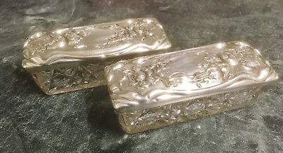 Pair Of Antique Sterling Silver Cut Glass Dressing Table Trinket Boxes George V