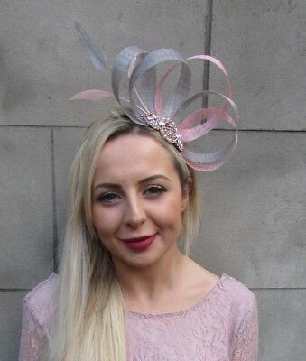 Grey Blush Dusky Pink Rose Gold Silver Feather Fascinator Sinamay Hair Vtg 6649