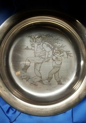 "Solid Sterling Silver - 1970 ""Bringing Home the Tree"" Norman Rockwell Plate"