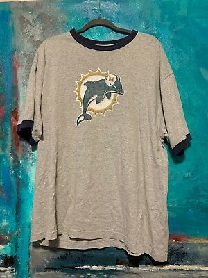 13150171f Vintage Style Miami Dolphins NFL Football T-Shirt Large Gray Mens Size XL  Shirt