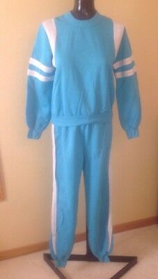 Vtg 70s Julie Girl Womens Fleece Jogging TRACK SUIT Jogging Set Pants Sweats M