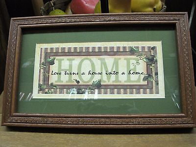 "Home and Garden Framed Wall Picture,  ""Love Turns a House Into a Home"" Wall Art"