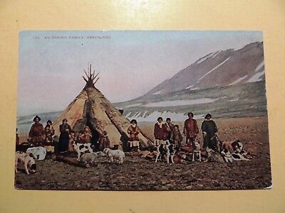 Eskimo Family and dogs Greenland vintage postcard