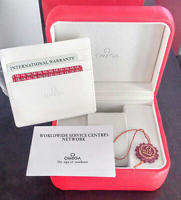 Red Omega Classic Watch Box With Pillow & Booklet Classic Watch Empty Box