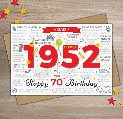 1950 DAD Happy 70th Birthday Memories / Year of Birth Facts Greetings Card Red