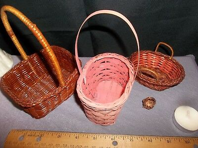Miniature Wicker Baskets for Hanging or for Shelf Top Lot of 4