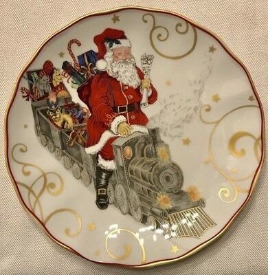 WILLIAMS SONOMA Twas The Night Before Christmas TRAIN SALAD PLATE Multiples NEW