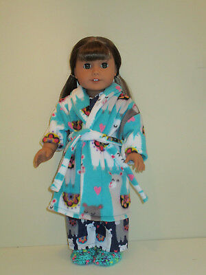 "Llama Pajama/Fleece Robe/Slippers Set 18"" Doll Clothes American Girl"