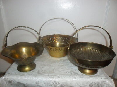 Vintage Solid Brass Planter Baskets W Movable Handles - Lot of 3 - Great Price!!